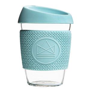 Skleněný hrnek na kávu, M, 340 ml, Neon Kactus, sv. modrý