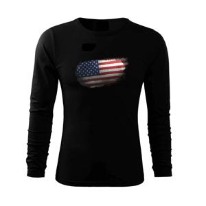 Americká vlajka okousaná - Triko s dlouhým rukávem FIT-T long sleeve