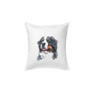 Bernský salašnický pes - hlava vodová barva - Polštář 50x50