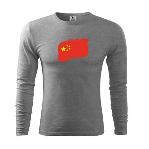 Čína vlajka - Triko s dlouhým rukávem FIT-T long sleeve