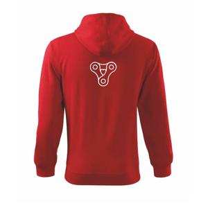 Cyklo srdce řetěz trojúhelník - Mikina s kapucí na zip trendy zipper