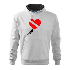 Dive srdce - Mikina s kapucí hooded sweater