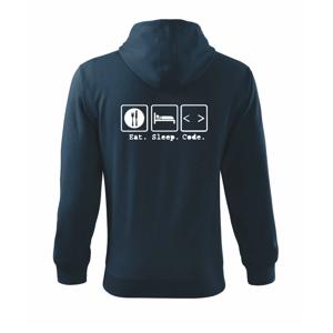 Eat sleep Code - Mikina s kapucí na zip trendy zipper