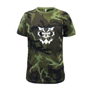 Geometrie - sova zlá - Dětské maskáčové triko