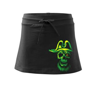 Green Pirate skull - Sportovní sukně - two in one