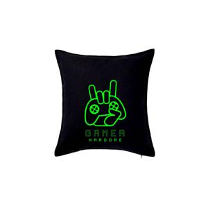 Hardcore gamer - ruka - fluo zelená - Polštář 50x50