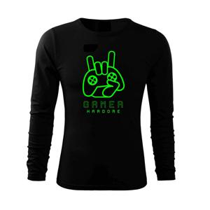 Hardcore gamer - ruka - fluo zelená - Triko s dlouhým rukávem FIT-T long sleeve