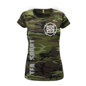Hasiči  TFA Sport ERB - Vlastní  nápis - Dámské maskáčové triko