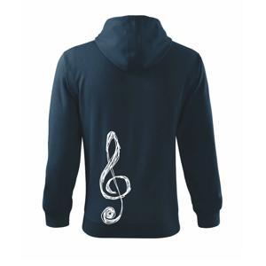 Houslový klíč kreslený - Mikina s kapucí na zip trendy zipper