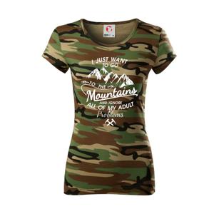 I just to go Mountains - Zahoď prolémy a jdi do hor - Dámské maskáčové triko