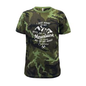 I just to go Mountains - Zahoď prolémy a jdi do hor - Dětské maskáčové triko