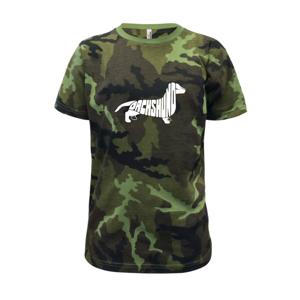 Jezevčík - Dachshund - Dětské maskáčové triko