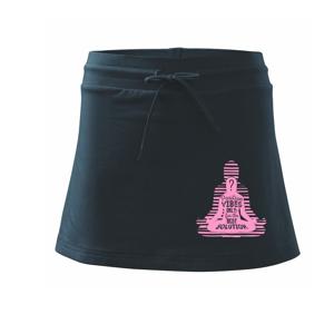 Joga - positive vibes only růžová - Sportovní sukně - two in one