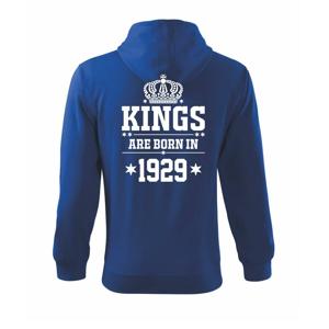 Kings are born in 1929 - Mikina s kapucí na zip trendy zipper