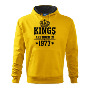 Kings are born in 1977 - Mikina s kapucí hooded sweater