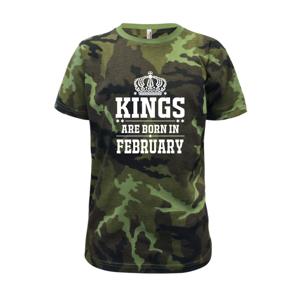 Kings are born in February - Dětské maskáčové triko
