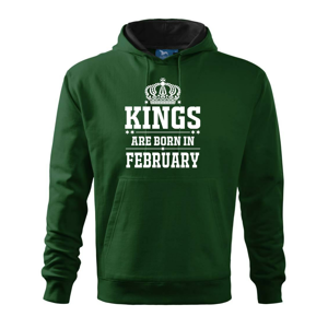 Kings are born in February - Mikina s kapucí hooded sweater