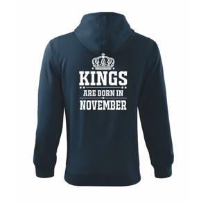 Kings are born in November - Mikina s kapucí na zip trendy zipper