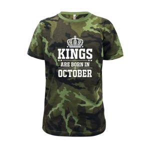 Kings are born in October - Dětské maskáčové triko