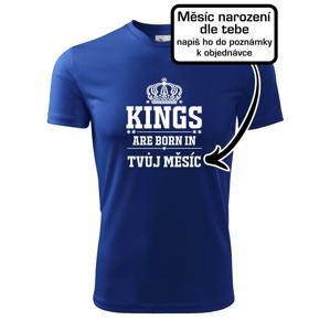 Kings are born in  (vlastní nápis měsíc narození) - Dětské triko Fantasy sportovní (dresovina)