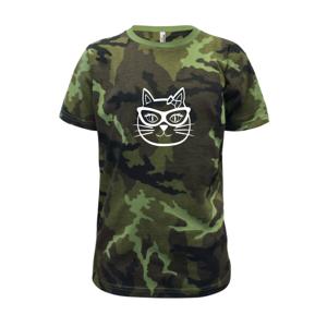 Kočičí holka s brýlemi - Dětské maskáčové triko