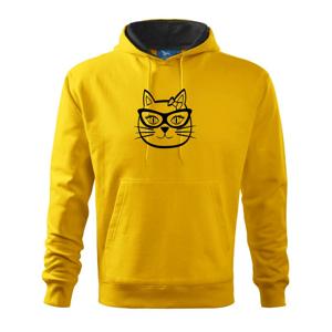 Kočičí holka s brýlemi - Mikina s kapucí hooded sweater