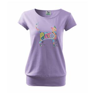 Kočka barevné křivky - Volné triko city