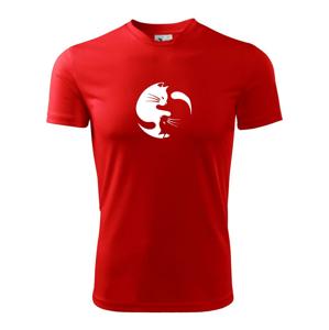Kočka - Jin jang - Dětské triko Fantasy sportovní (dresovina)