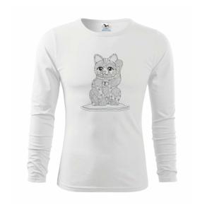 Kočka mávající mandala - Triko dětské Long Sleeve