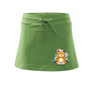 Kočka - mistr v meditaci (Pecka design) - Sportovní sukně - two in one