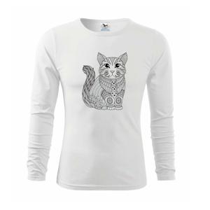 Kočka sedící mandala - Triko dětské Long Sleeve