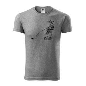 Kreslený rybář na pařezu - Viper FIT pánské triko