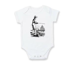 Kreslený rybář s vytaženými kalhotami - Body kojenecké