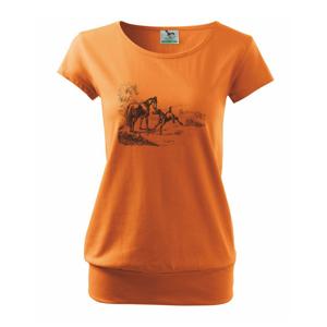 Kůň a hříbě malované - Volné triko city