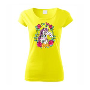 Kůň barevný s květinami - Pure dámské triko