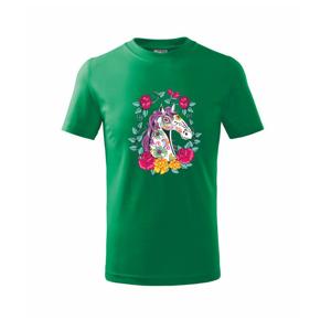 Kůň barevný s květinami - Triko dětské basic