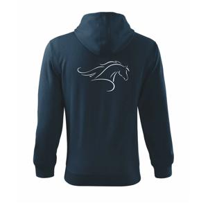 Kůň - bežící silueta hlavy - Mikina s kapucí na zip trendy zipper