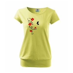 Květina a ptáček - Volné triko city