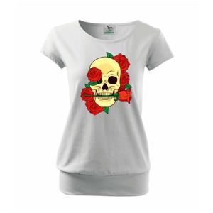 Lebka držící růži - Volné triko city