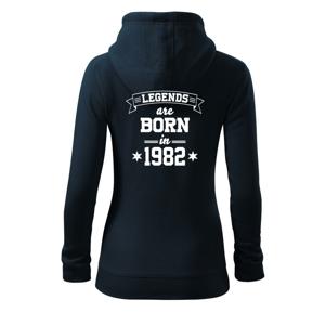 Legends are born in 1982 - Dámská mikina trendy zippeer s kapucí