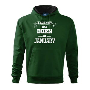 Legends are born in January - Mikina s kapucí hooded sweater