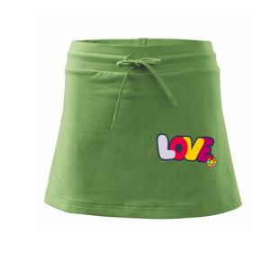 Love nápis s květinou - Sportovní sukně - two in one