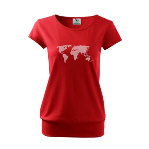 Mapa světa otisk - Volné triko city