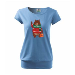 Medvěd s dárkem - Volné triko city