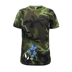 Modrá květina - Dětské maskáčové triko