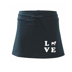 Mops love - Sportovní sukně - two in one