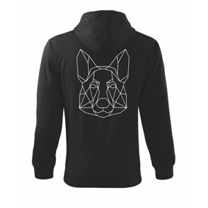 Německý ovčák - Geometrie - Mikina s kapucí na zip trendy zipper