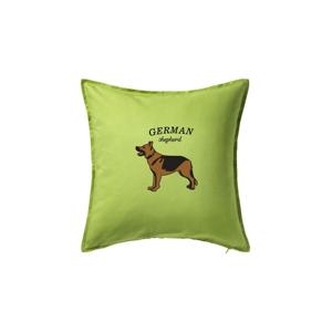 Německý ovčák - hnědý s nápisem - Polštář 50x50