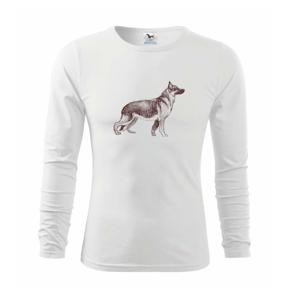 Německý ovčák -  kreslený skica - Triko s dlouhým rukávem FIT-T long sleeve