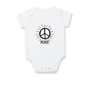 Peace symbol černobílý - Body kojenecké